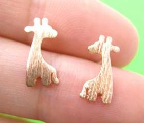 Giraffe Shape Animal Stud Earrings in Copper with Sterling Silver Posts