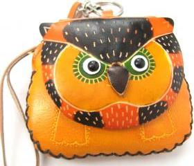 Handmade Owl Bird Animal Coin Purse with Wrist Strap and Key Chain