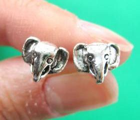 Small Elephant Animal Stud Earrings in Sterling Silver