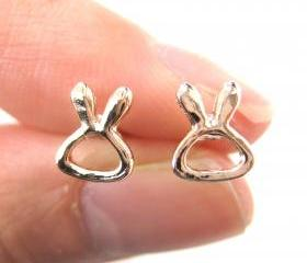 Small Rabbit Bunny Outline Animal Stud Earrings in Light Gold