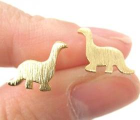 Dinosaur Shape Animal Stud Earrings in Gold with Sterling Silver Posts