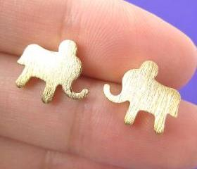 Simple Elephant Animal Stud Earrings in Gold with Sterling Silver Earring Posts