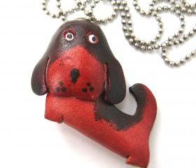 Faux Leather Puppy Dog Animal Charm Necklace with Mobile Strap