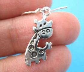 Small Cute Giraffe Animal Dangle Earrings in Sterling Silver