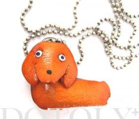 Faux Leather Dachshund Puppy Dog Animal Charm Necklace with Mobile Strap