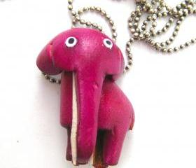 Faux Leather Elephant Animal Charm Necklace with Mobile Strap