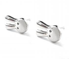 Small Rabbit Bunny Animal Stud Earrings in Silver