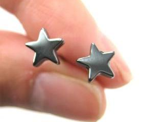 Small Star Shaped Night Sky Universe Stud Earrings in Dark Silver