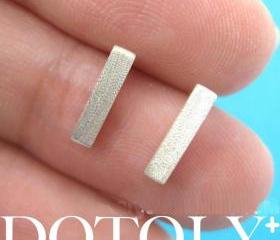 Simple Rectangular Block Shaped Stud Earrings in Sterling Silver