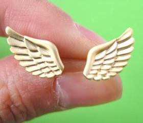 Angel Wings Feather Stud Earrings in Gold with Sterling Silver Posts