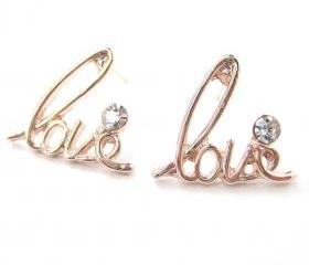 Love Cursive Stud Earrings in Light Gold with Rhinestone Details