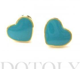 Small Heart Shaped Stud Earrings in Turquoise on Gold