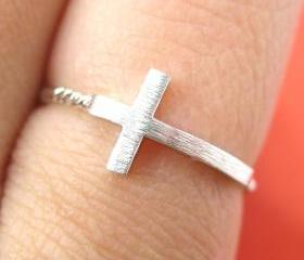 Simple Cross Shaped Ring in Sterling Silver - Size 6 ONLY