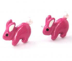 Super Cute Bunny Rabbit Animal Stud Earrings in Pink with Pearls