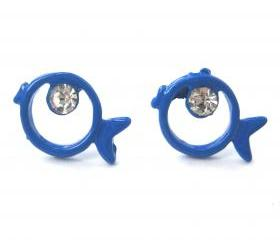 Small Bright Blue Round Fish Sea Animal Stud Earrings with Rhinestones