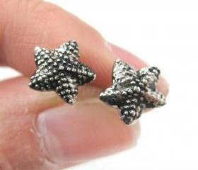 Small Textured Starfish Star Shaped Stud Earrings in Dark Silver