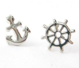 Small Nautical Inspired Anchor and Wheel Stud Earrings in Silver