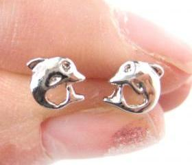Tiny Dolphin Fish Sea Animal Stud Earrings in Silver