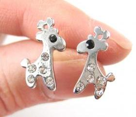 Small Giraffe Silhouette Animal Stud Earrings in Silver