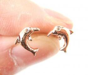 Small Dolphin Fish Shaped Sea Animal Stud Earrings in Rose Gold
