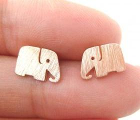 Cute Elephant Shaped Stud Earrings in Rose Gold | Allergy Free