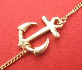 Simple Anchor Nautical Navy Inspired Necklace in Gold