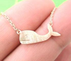 Cute Whale Sea Animal Charm Necklace in Copper