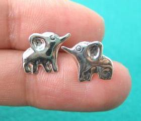 Cute Elephant Animal Stud Earrings in Sterling Silver