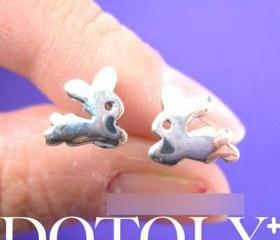 Bunny Rabbit Animal Stud Earrings in Sterling Silver
