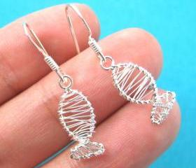 Small Fish Wire Wrapped Dangle Earrings in Sterling Silver
