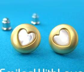 SALE - Round Gold Stud Earrings with Heart Shaped Detail ALLERGY FREE