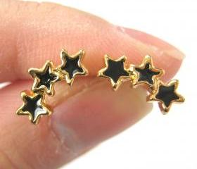 Small Connected Stars Stud Earrings in Black on Gold