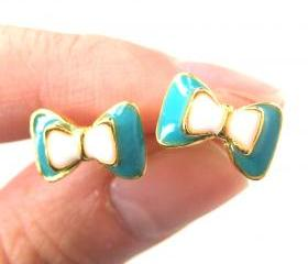 Small Bow Tie Ribbon Stud Earrings in Turquoise White and Gold