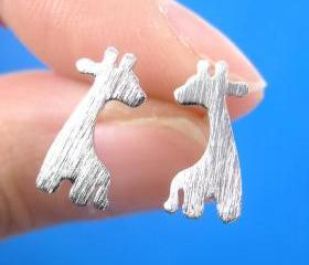 Giraffe Shape Animal Stud Earrings in Silver with Sterling Silver Posts