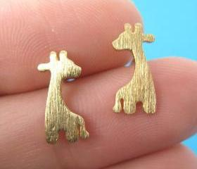Giraffe Shape Animal Stud Earrings in Gold with Sterling Silver Posts