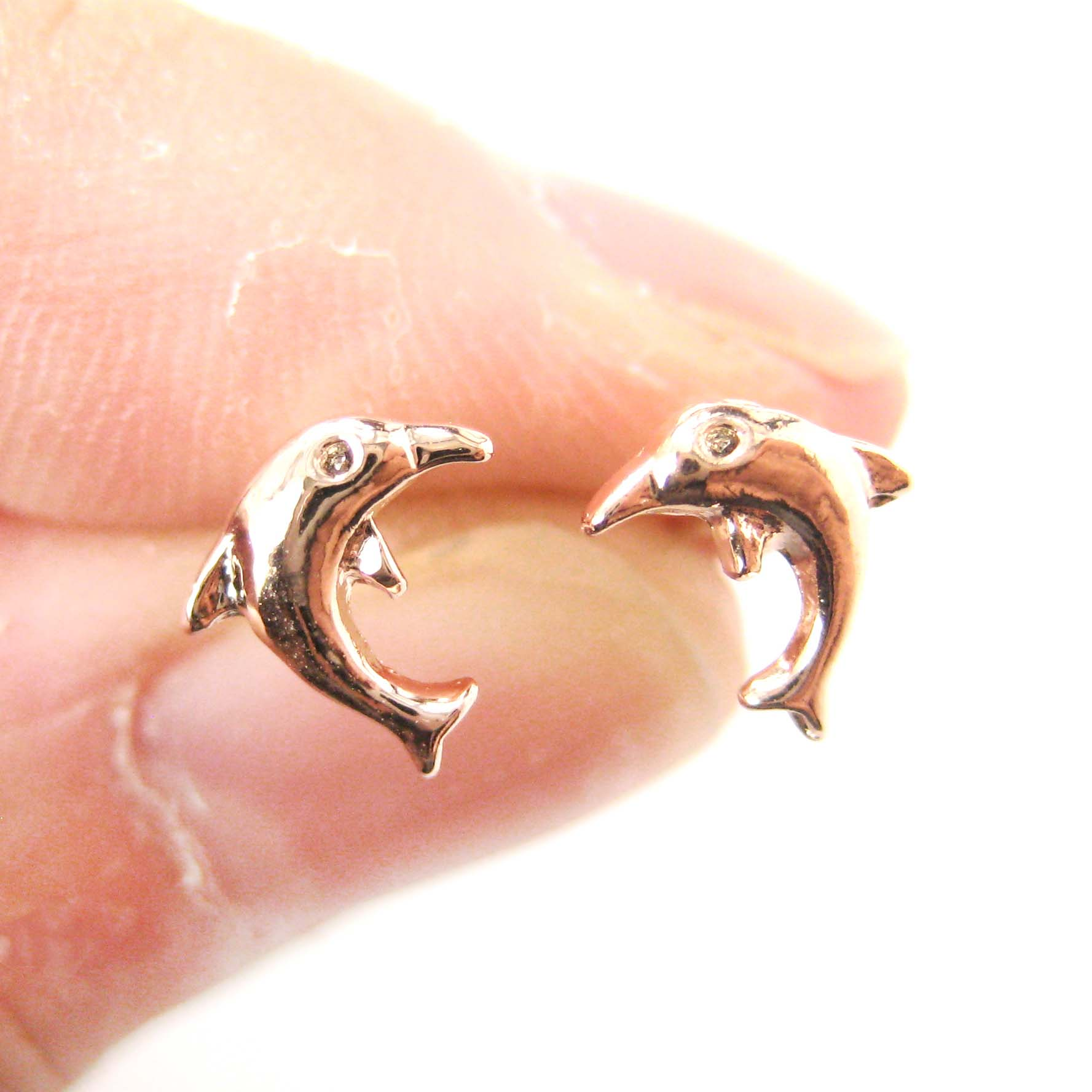 Small Dolphin Fish Shaped Sea Animal Stud Earrings In Rose Gold On Luulla
