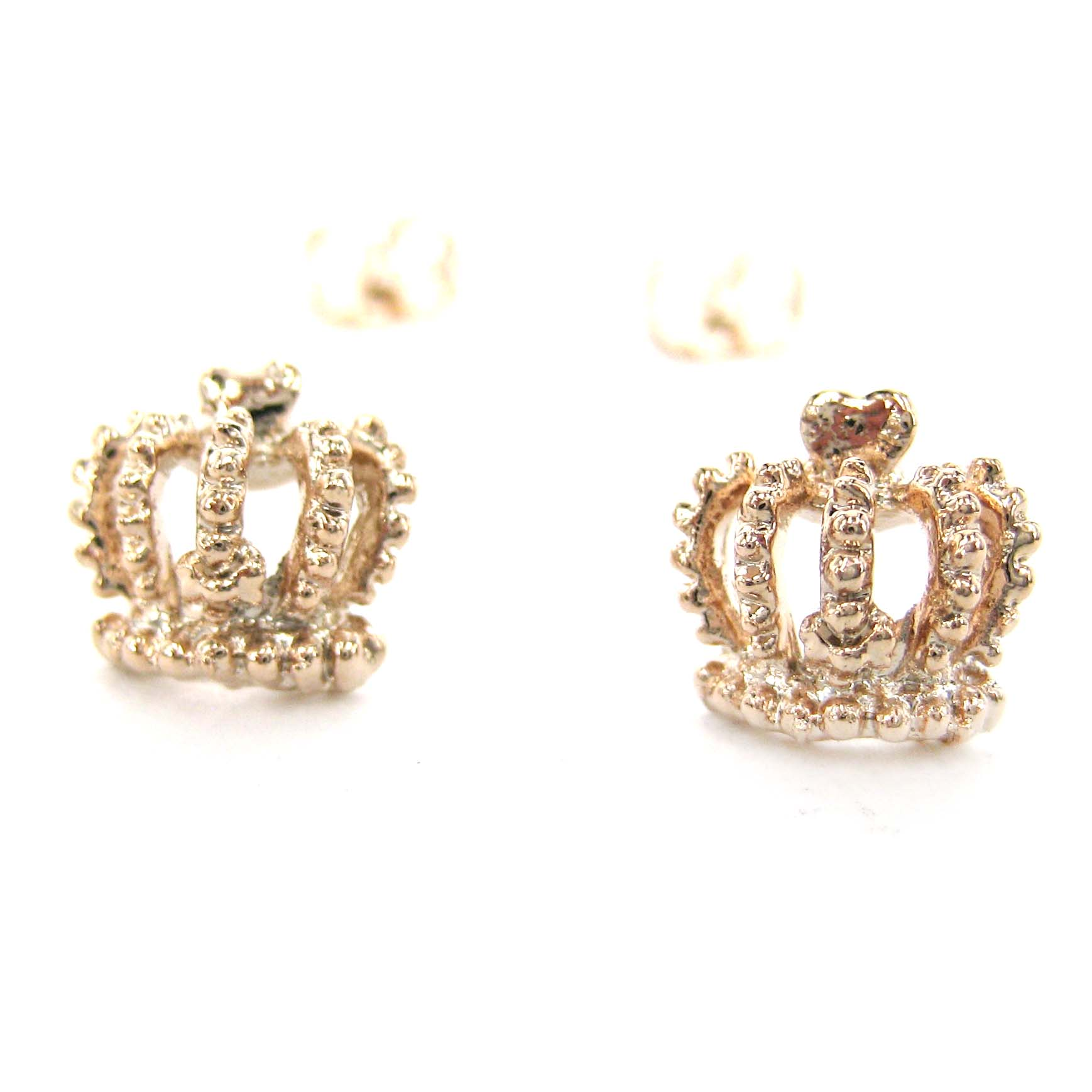 Small Crown Shaped Princess Themed Stud Earrings In Rose